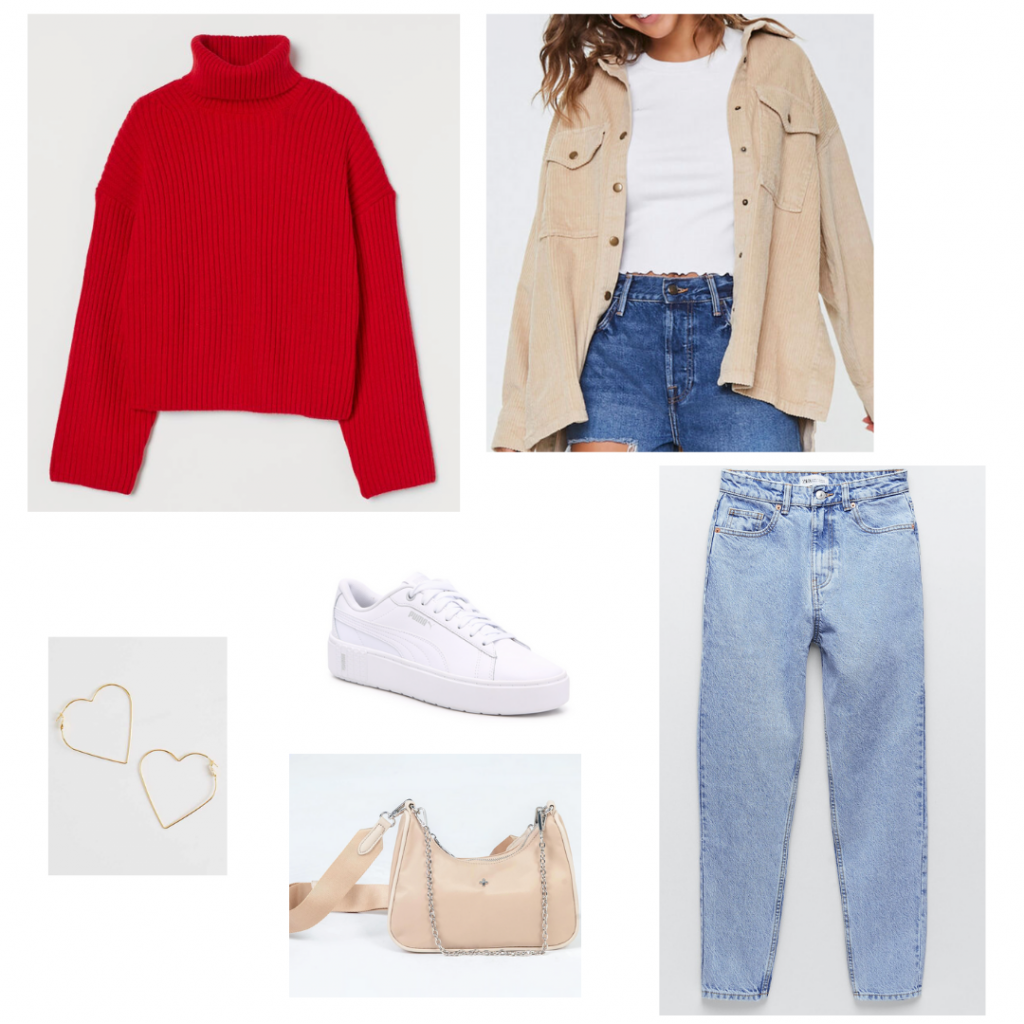 Cute Valentines outfit set: red sweater from H&M, light wash mom jeans from Zara, tan corded shirt jacket from Forever 21, white sneakers from Puma, heart shaped gold hoops from Altard State, and a nude crossbody mini bag from Princess Polly.