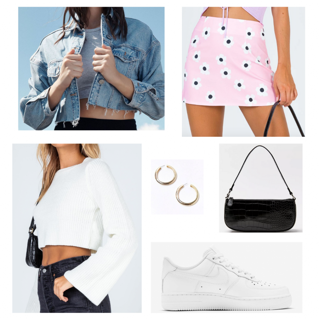 Valentine's Day outfit set: ribbed white sweater and a pink floral mini skirt both from Princess Polly, cropped denim jacket from Garage, gold chunky hoops from Forever 21, black mini shoulder bag from Urban Outfitters, and white Nike Air Force 1 sneakers.