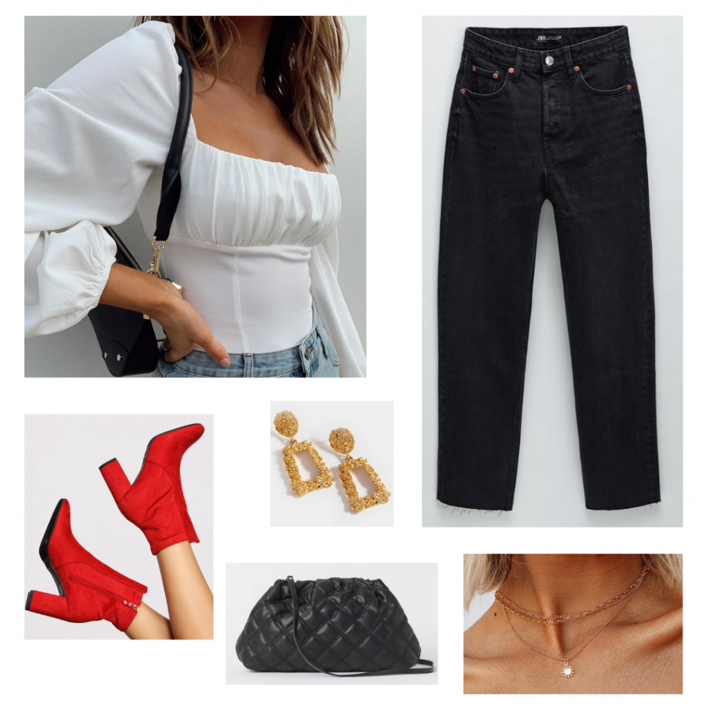 Valentine's Day outfit set: white bodysuit from Princess Polly, black straight leg jeans from Zara, red suede heeled booties from Windsor, gold statement earrings from Francesca's, gold layered necklace from Princess Polly, and a mini black quilted shoulder bag from H&M.