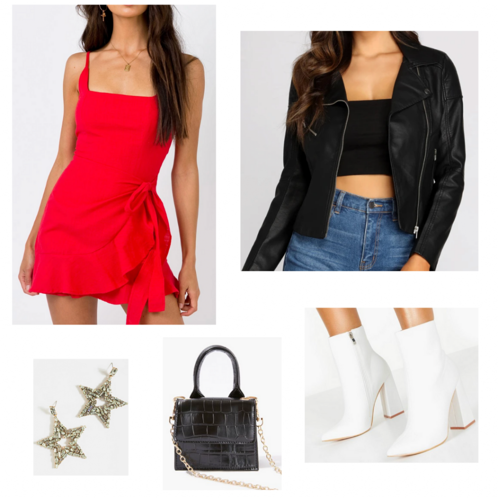 Cute Valentine's Day outfit set: red wrap dress from Princess Polly, faux black leather jacket from Windsor, white heeled booties from Boohoo, gold star earrings from Francescas, and a black mini croc print bag from Forever 21.