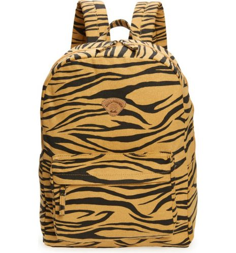 A backpack with tiger stripe print.