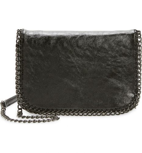 Timeless bag: black faux leather crossbody bag with gunmetal chain strap from Nordstrom