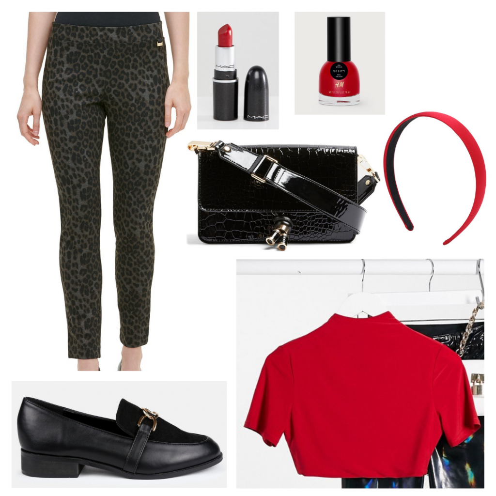 Outfit Guide: red mockneck crop top, grey and black leopard pants, red headband, patent crocodile purse, black loafers, red lipstick and nail polish
