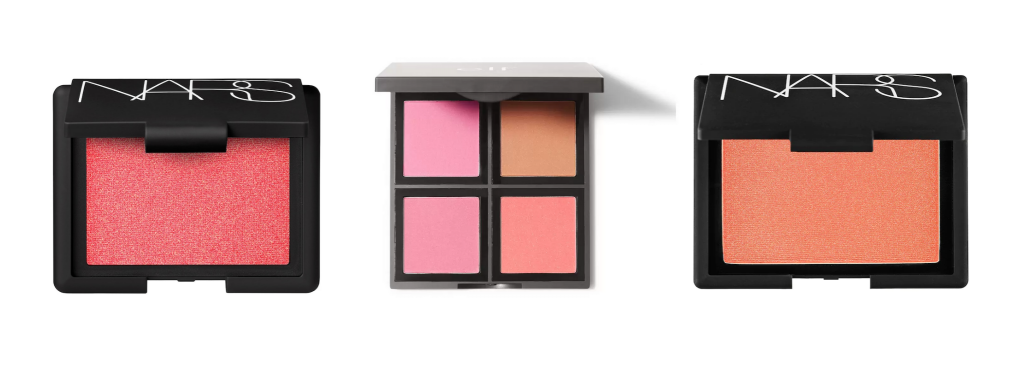 Three blush palettes, one with multiple colors from Sephora and Elf.