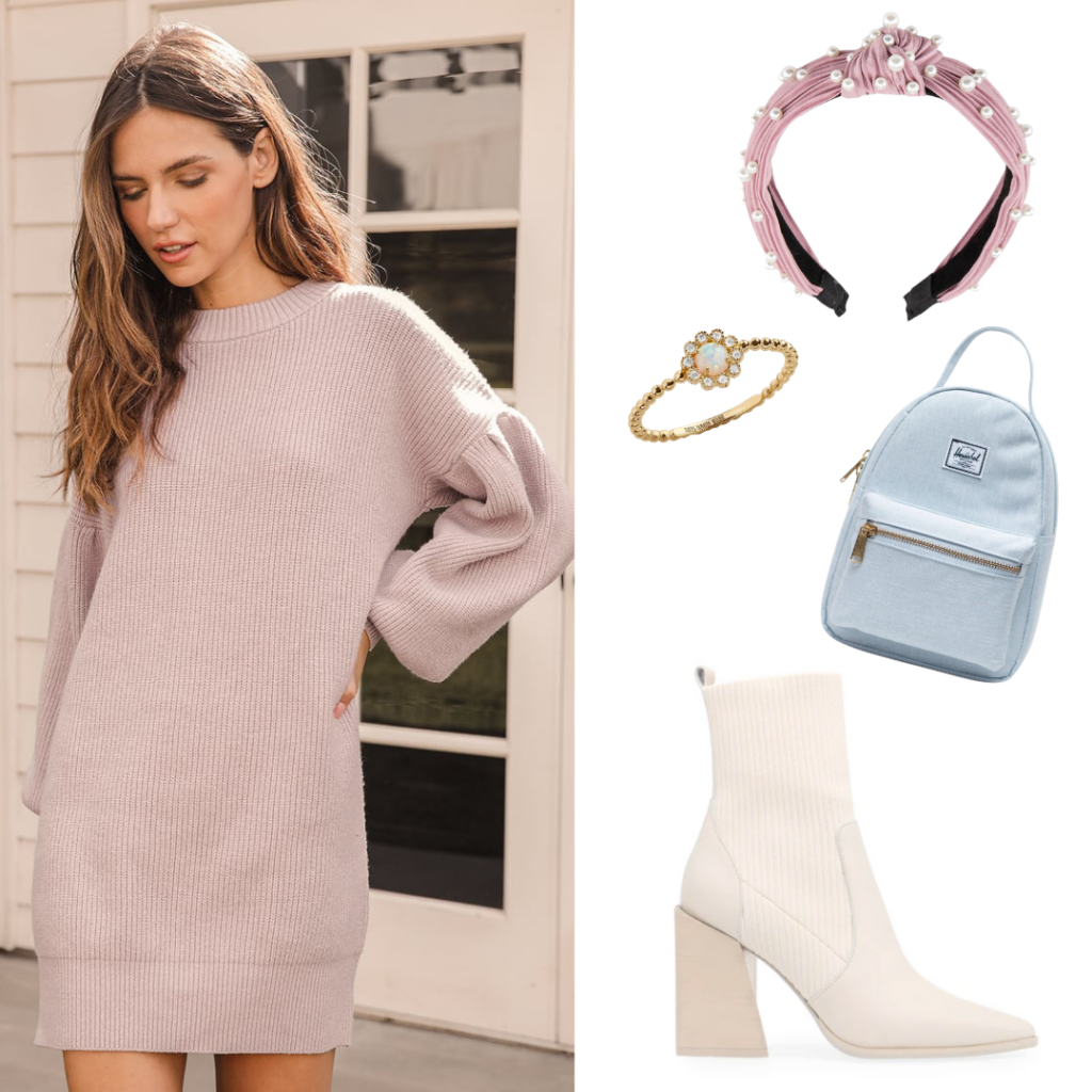 Outfit inspired by Eloise Bridgerton with lilac sweater dress, chunky heeled boots, bejeweled headband, mini backpack