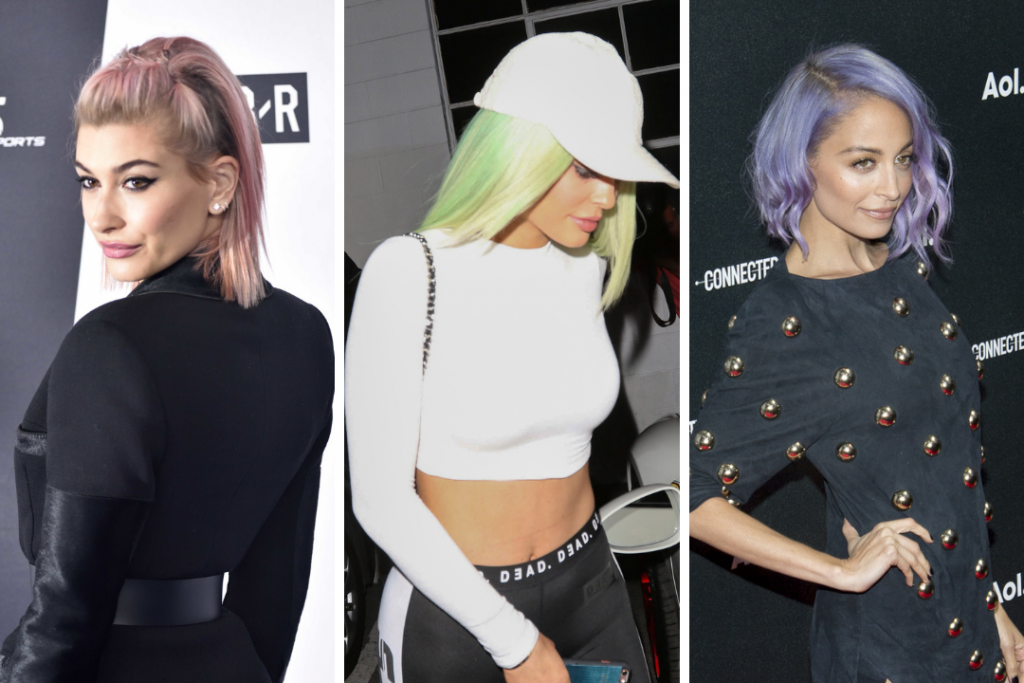 Celebrities rocking rainbow hair: Hailey Bieber with pink hair, Kylie Jenner with green hair, and Nicole Richie with purple hair