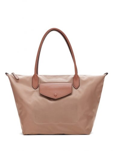Classic bag: nude tote bag with side pocket from Banana Republic