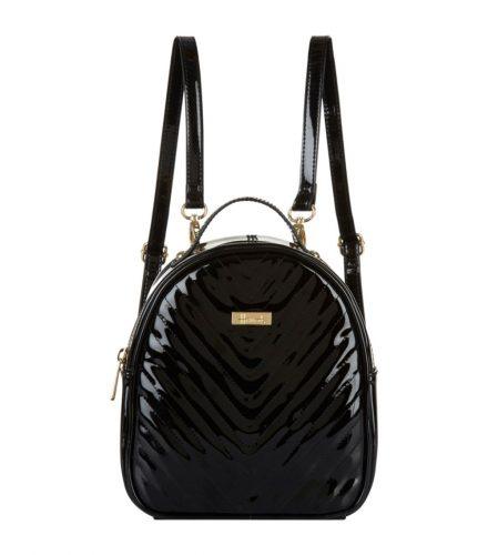 A glossy black Harrods backpack.