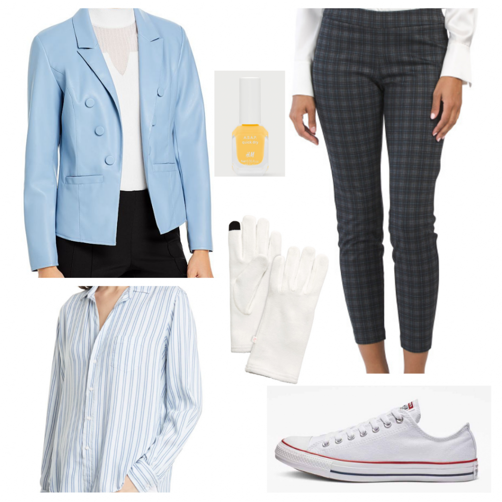 Harry Styles outfit inspired by Golden music video: Blue blazer, plaid pants, striped shirt, white sneakers, white gloves