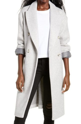 Topshop Long Double Breasted Coat at Nordstrom