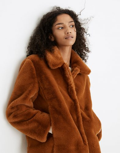 Madewell Faux Fur Crop Coat