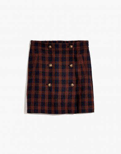 Madewell Plaid Double Breasted Mini Skirt