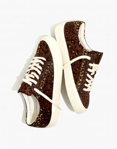 Madewell Sidewalk Leopard Calf Hair Low Top Sneakers