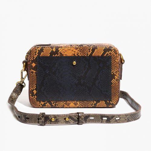 Madewell Colorblock Snake Embossed Bag