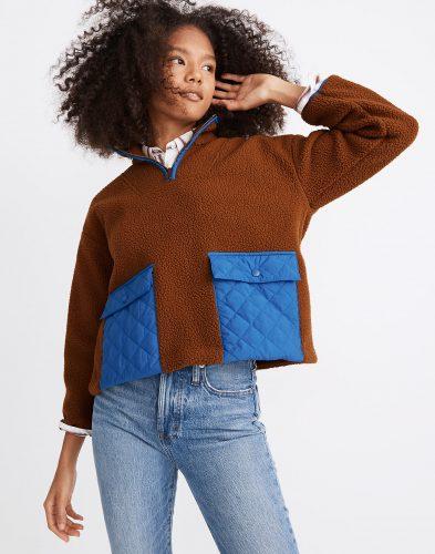 Madewell Fleece Quilted Popover Jacket