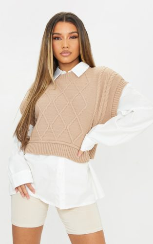 Pretty Little Thing Sone Crop Cable Knit Vest