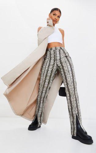 PrettyLittleThing Snake Print Faux Leather Split Hem Pants