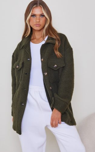 PrettyLittleThing Brushed Tortoise Button Down Shacket