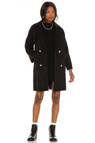 Revolve Black Mid Length Coat