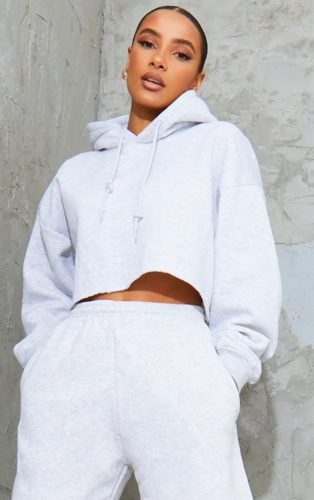 Gray Cropped Oversized Hoodie Pretty Little Thing