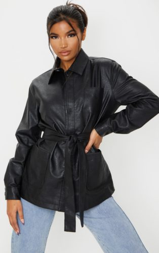 PrettyLittleThing Faux Leather Belted Jacket