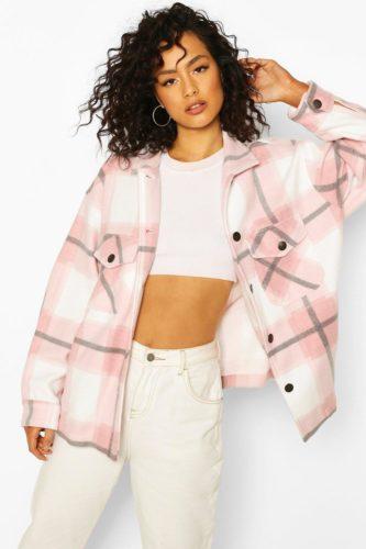 Boohoo pink plaid trucker jacket