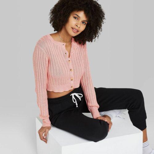 Target Cropped Ribbed Knit Cardigan