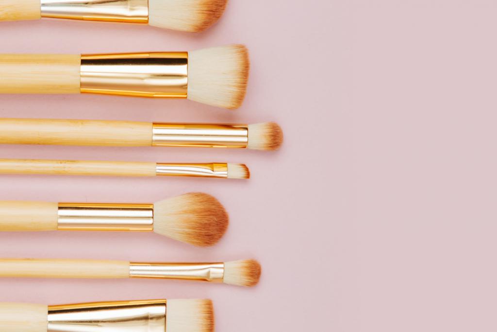 Dry makeup brushes downward