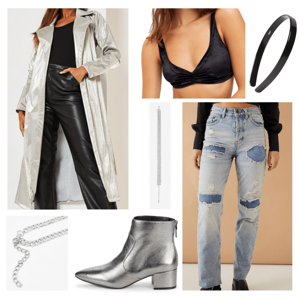 Outfit Guide: velvet bralette, distressed boyfriend jeans, silver pointed toe booties, long silver trench coat