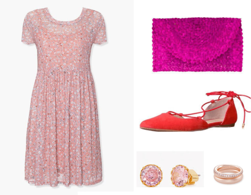Penelope Featherington outfit from Bridgerton with floral dress, hot pink clutch, red flats, rose gold jewelry