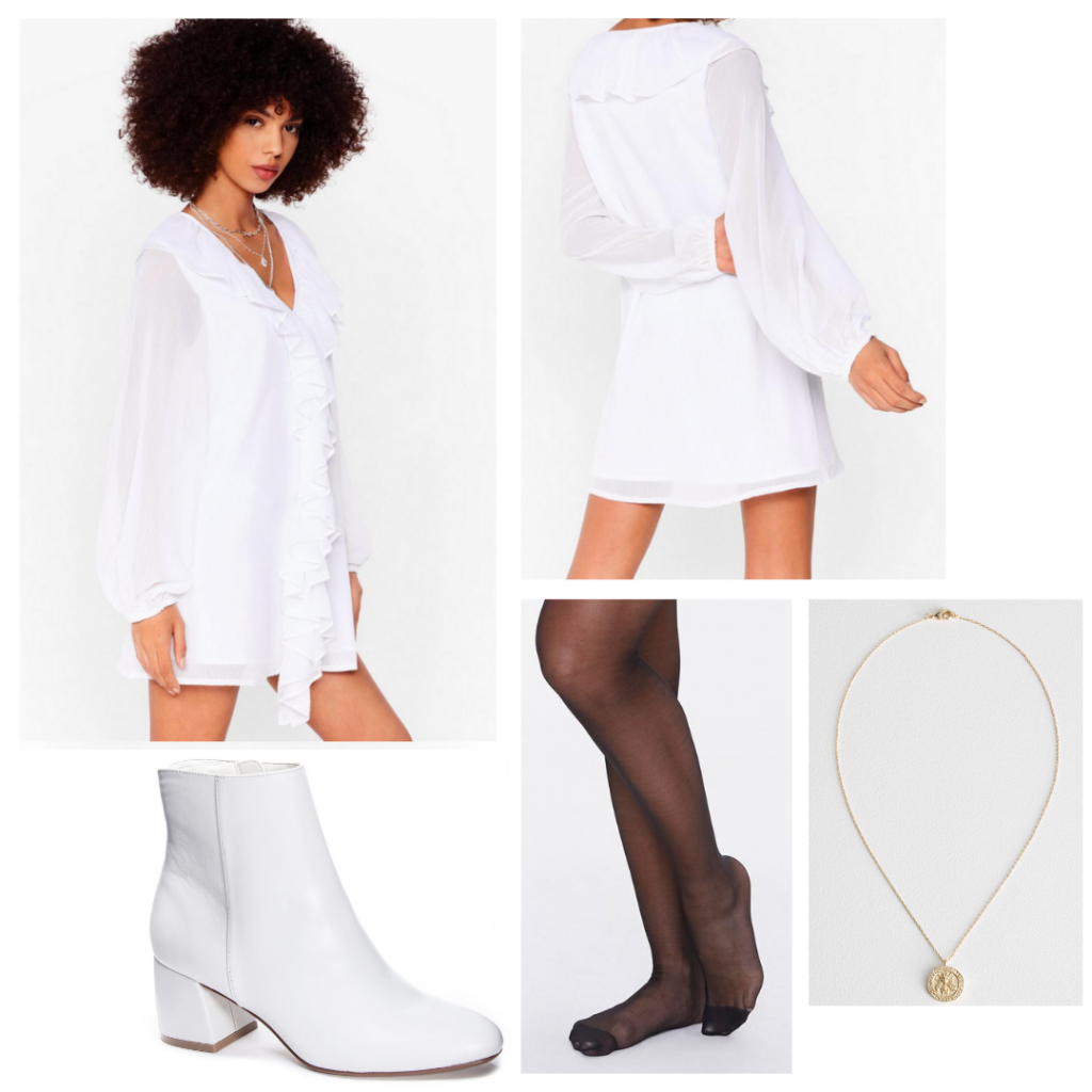 Harry Styles outfit inspired by Falling music video: All white outfit with ruffled top, white boots, gold necklace