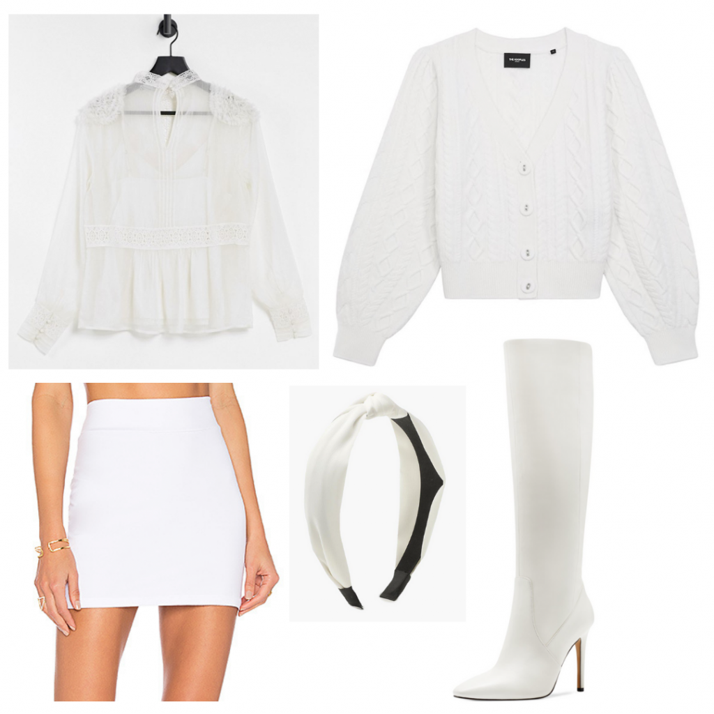 Outfit Guide: white silky long-sleeve blouse, white cableknit cardigan, white minskirt, white go-go boots, white knotted headband