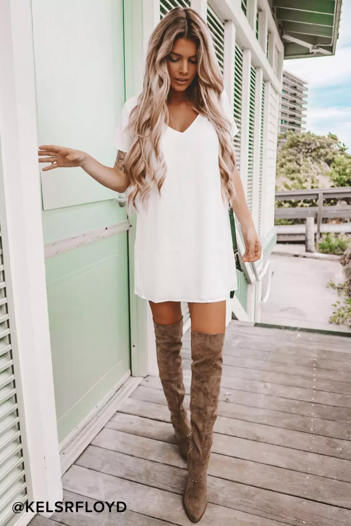 Basic white shift dress for college