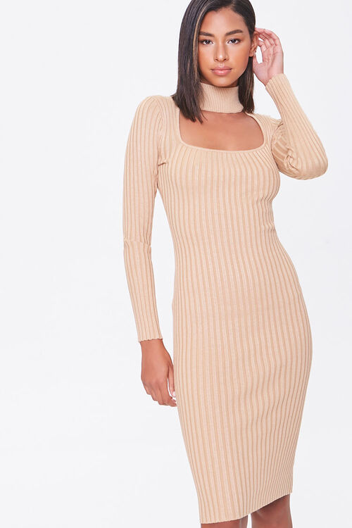 Ribbed mock neck sweater dress from Forever 21