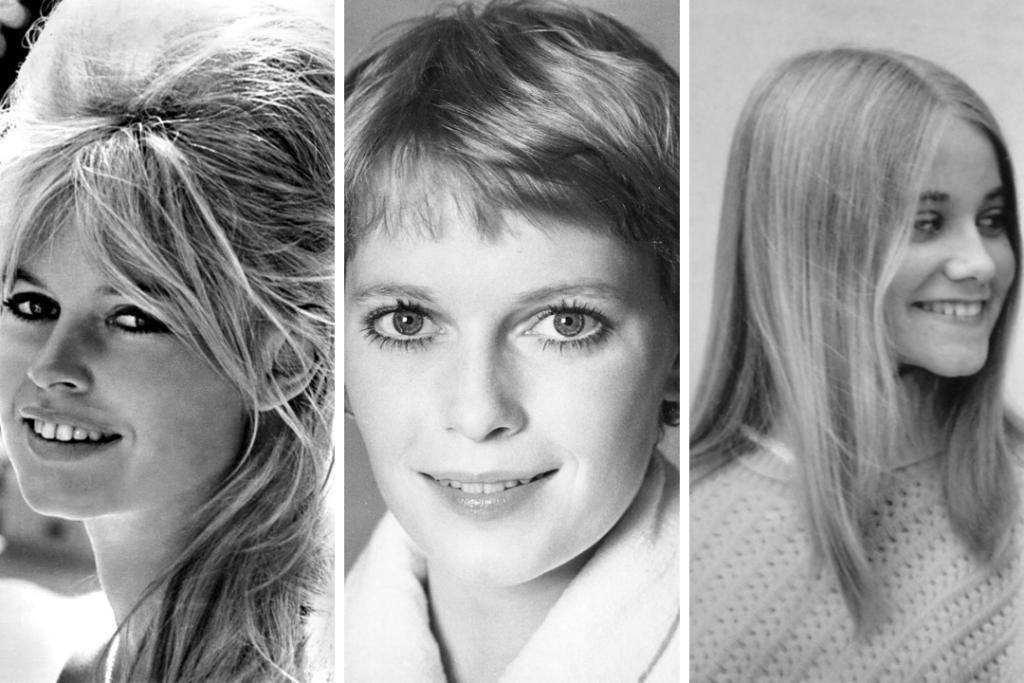 1960s hair: Brigitte Bardot's bouffants, Mia Farrow's pixie cut, and Marcia Brady's sleek, straight hair
