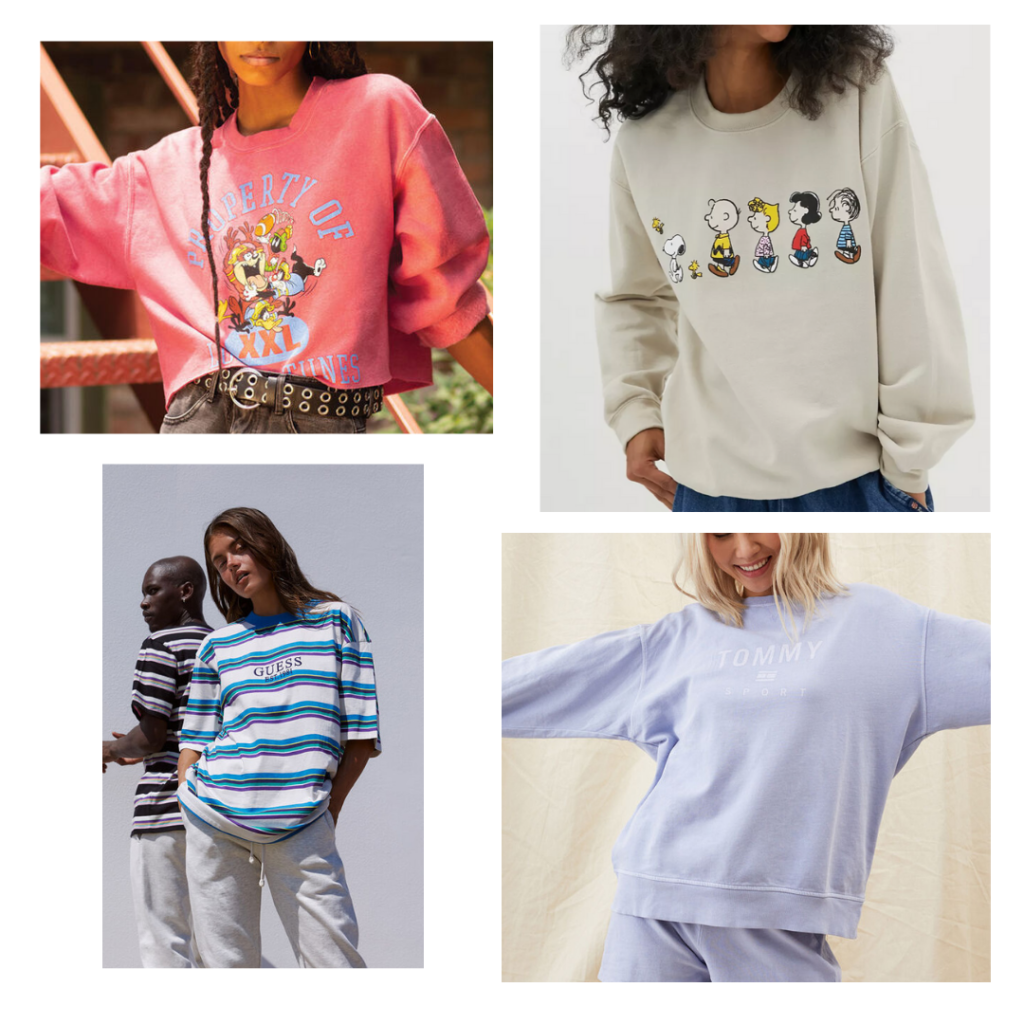 nostalgic brands, looney tunes, peanuts, guess, tommy