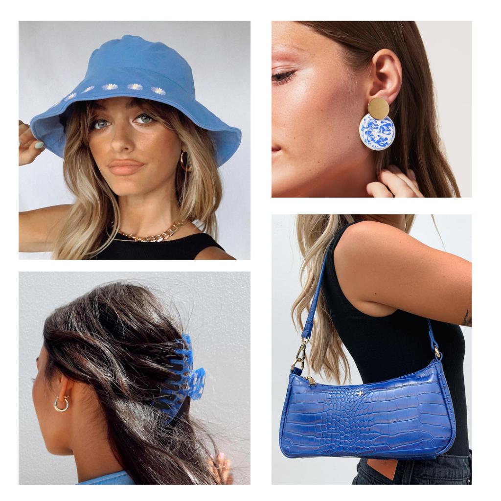 Blue accessories, hair clip, bucket hat, claw hair clip, shoulder bag