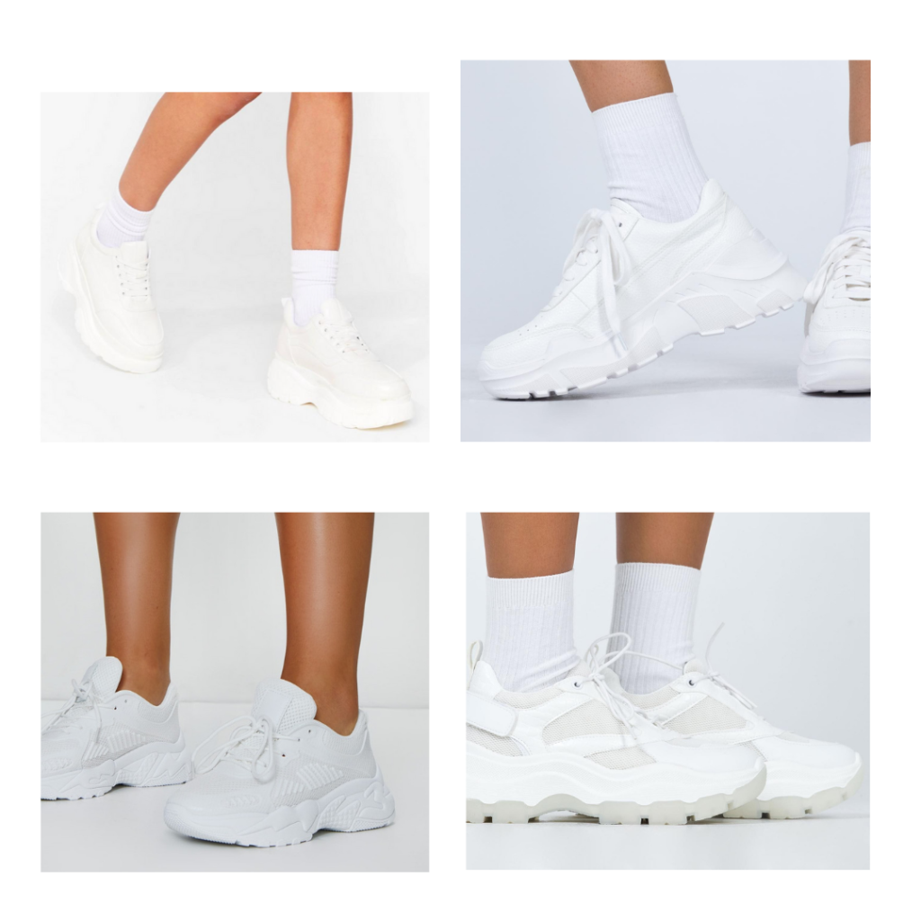 2021 fashion trends - chunky white sneakers