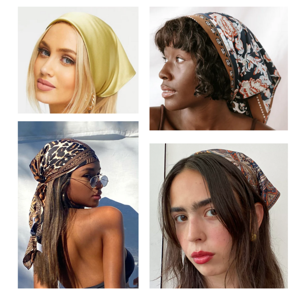 2021 fashion trends - silky, patterned head scarves