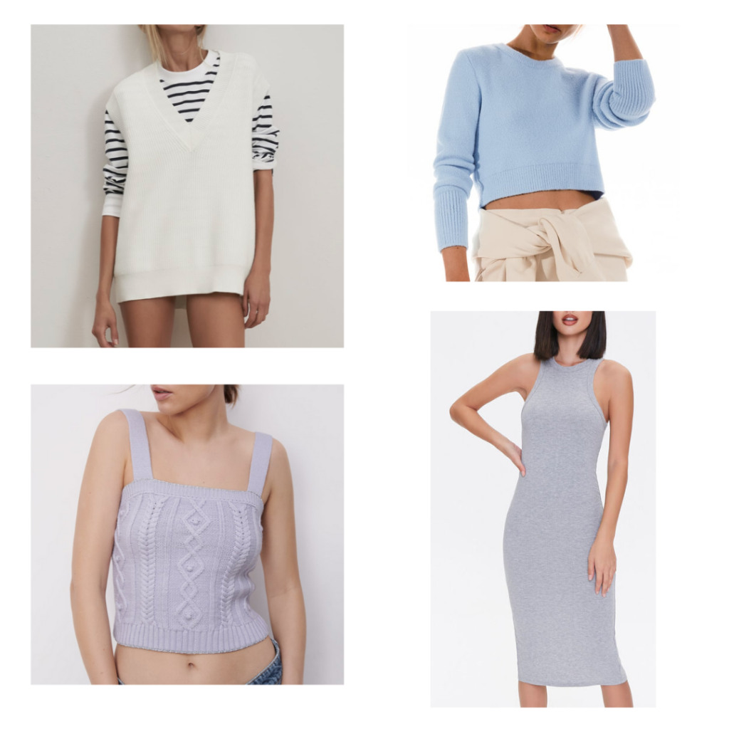 spring knit dresses, sweaters, and vests