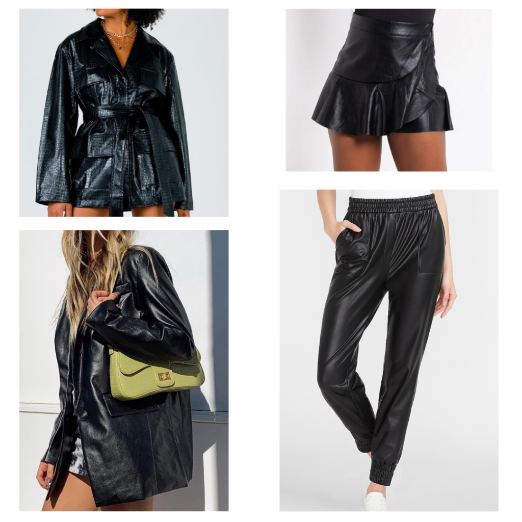 leather pants, skirt, blazer, jacket