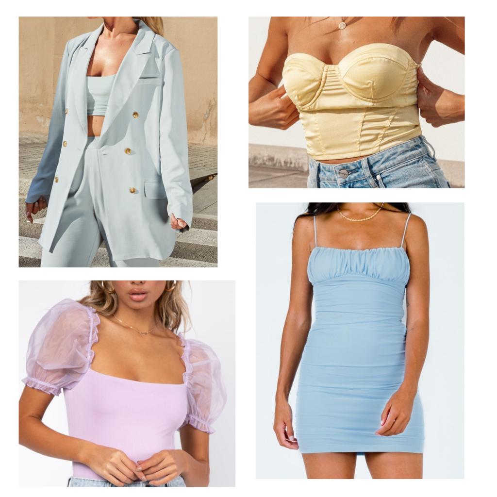 2021 fashion trend - pastel tones, matching suit set, bustier, dress