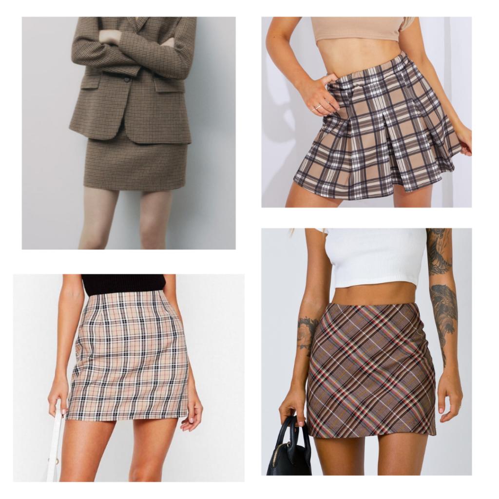 2021 fashion trend - plaid miniskirts