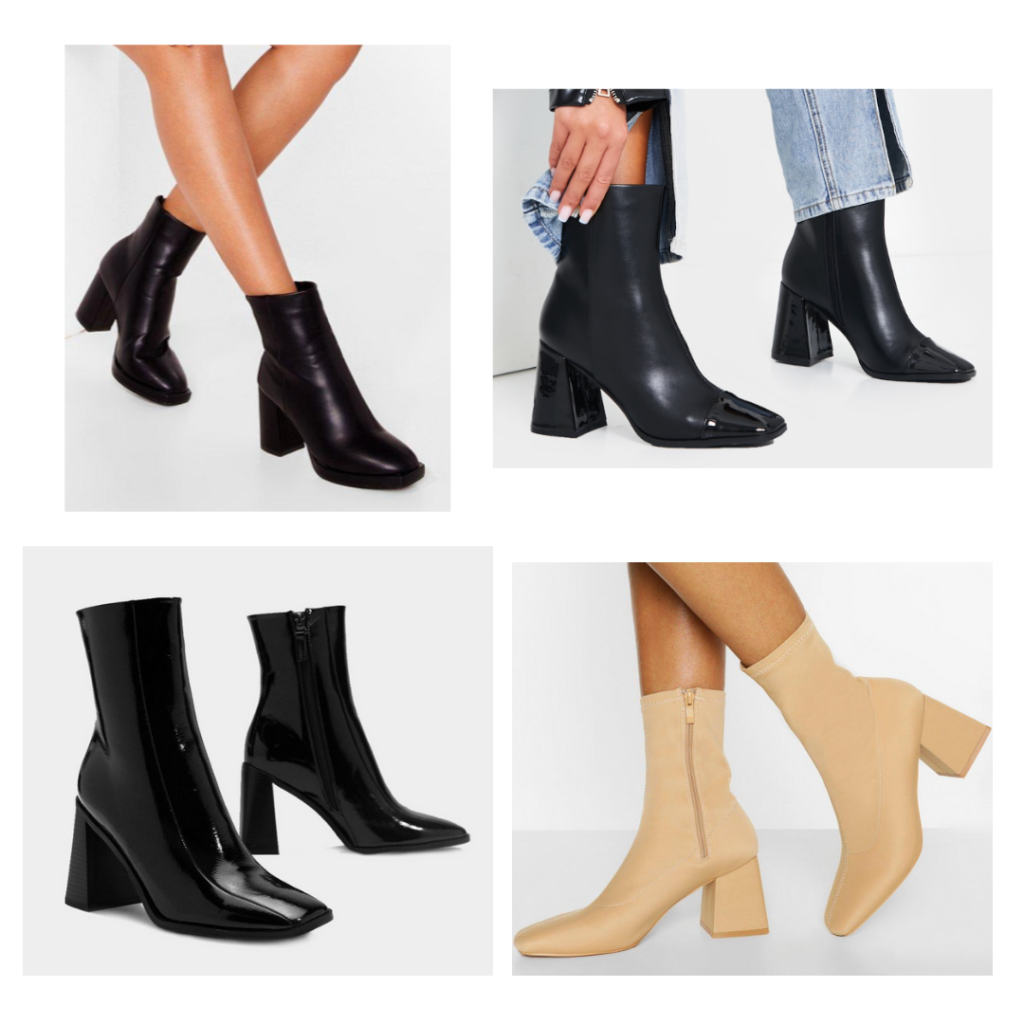 square toed booties with chunky heels