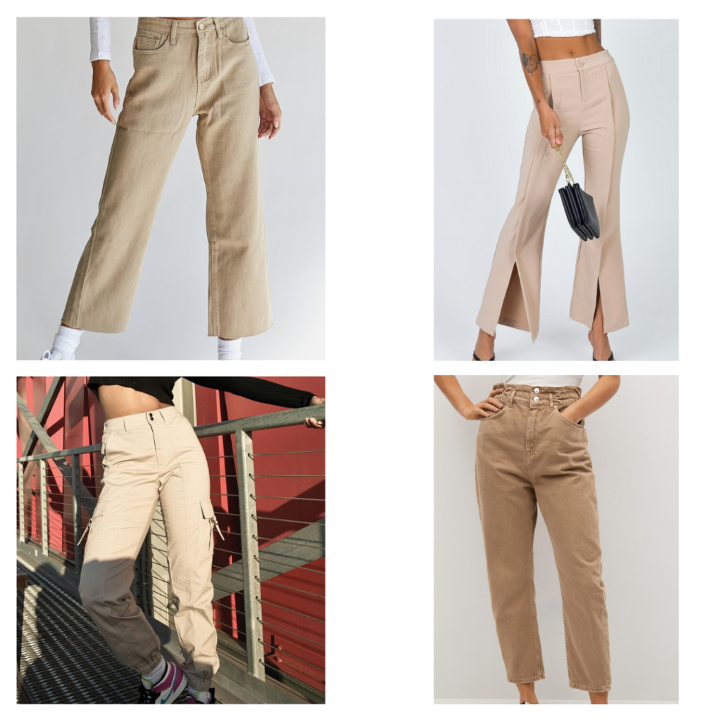 2021 fashion trends - neutral khaki jeans and trousers