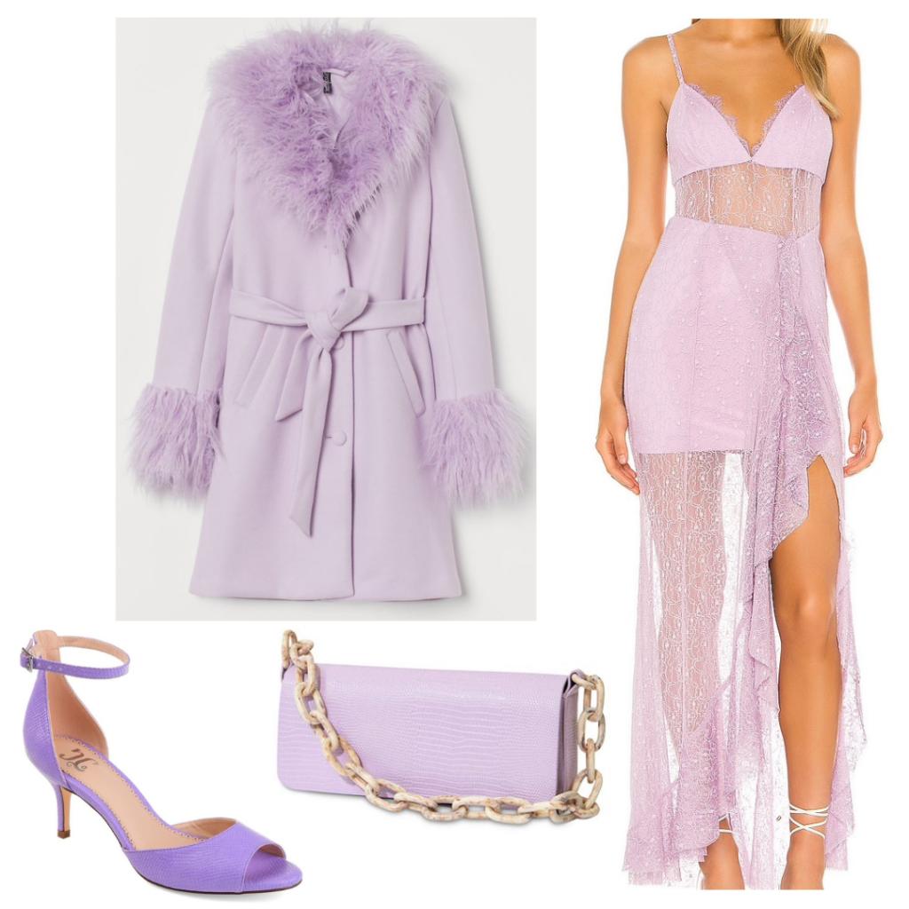 Ariana Grande 34+35 music video outfit: Purple dress, fur coat, chain bag, open toe heels