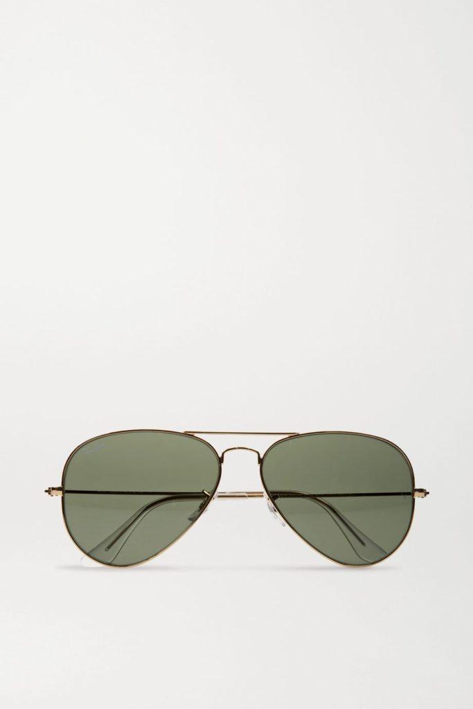 Ray-Ban green lens aviators