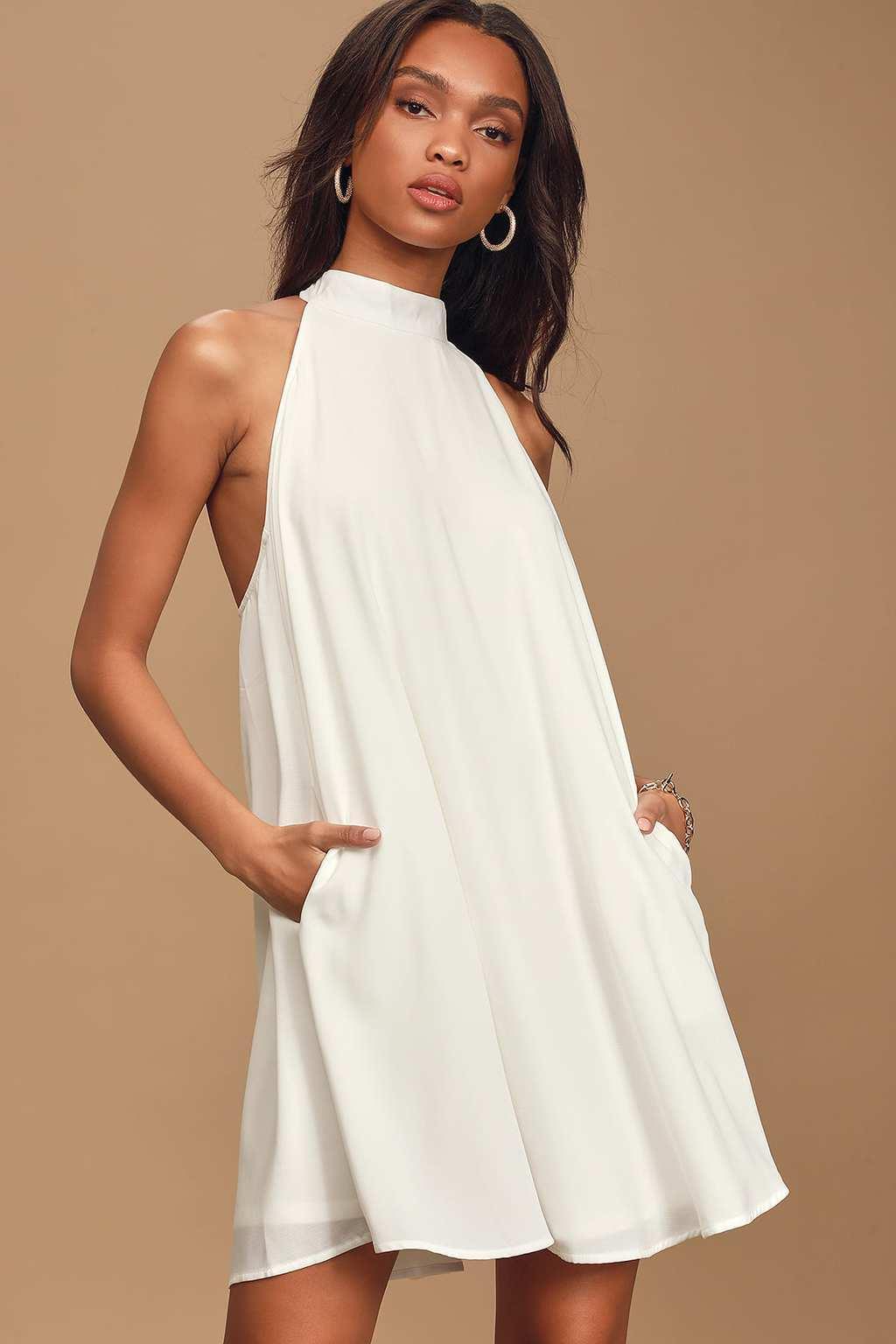 White halter swing dress from Lulu's