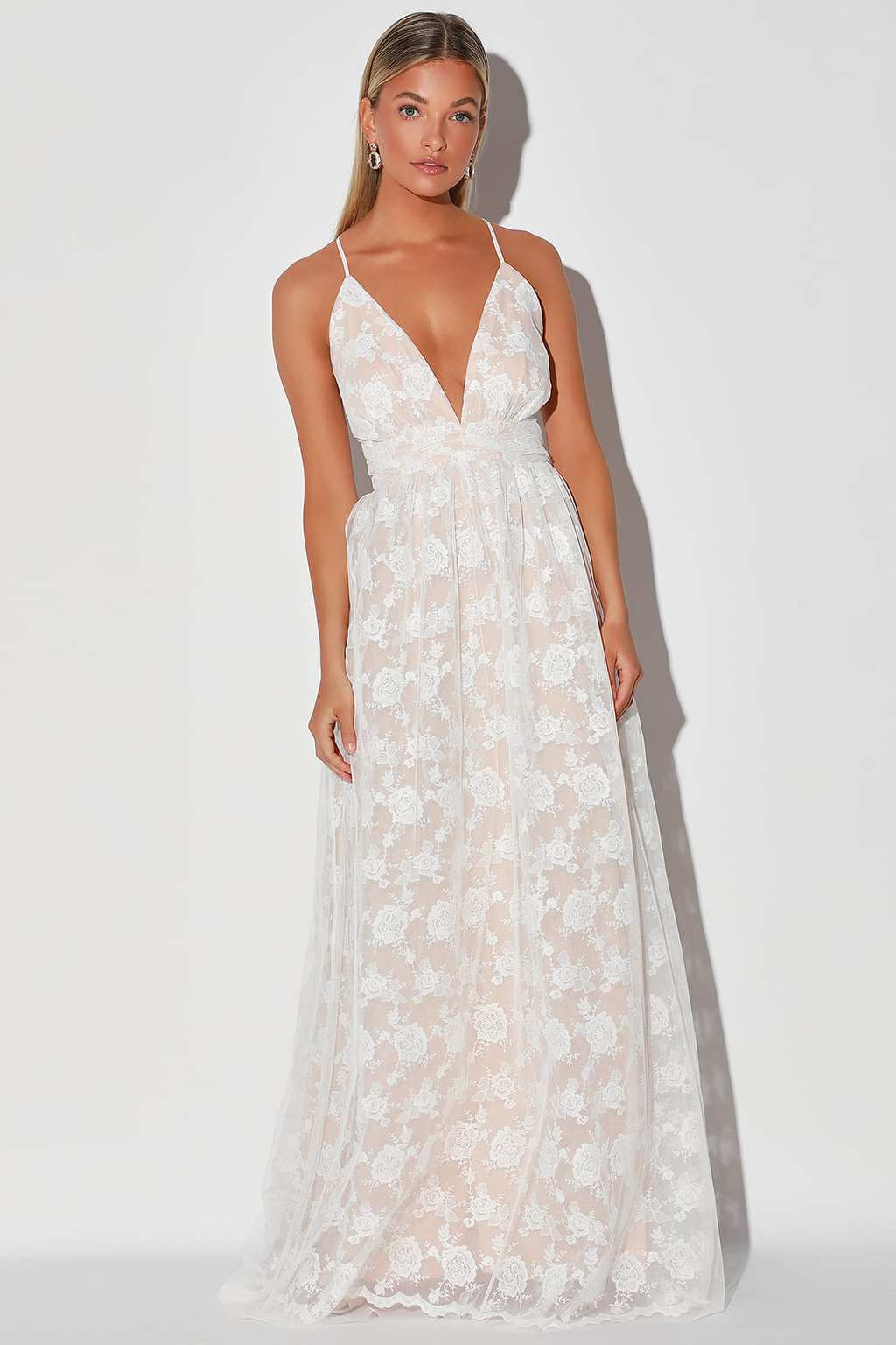 White and beige embroidered lace backless maxi dress from Lulu's