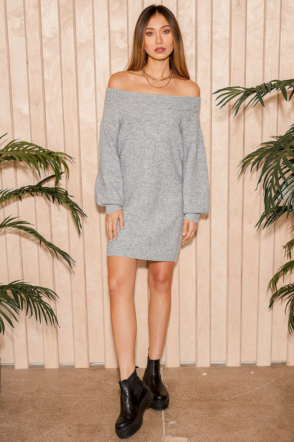Grey sweater dress from Lulus